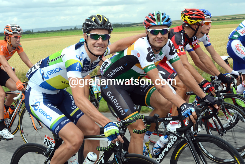 Daryl Impey and Robbie Hunter on stage six of the 2012 Tour de France