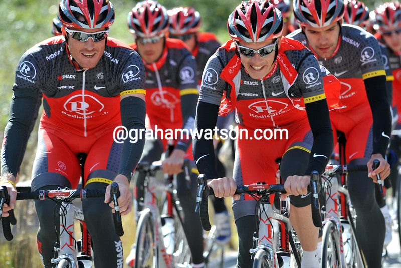 GREGORY RAST AND DARYL IMPEY AT THE RADIO SHACK TEAM TRAINING IN CALPE, SPAIN
