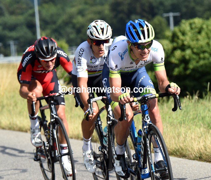 Daryl Impey leads an escape on stage seven of the 2015 Tour de Suisse