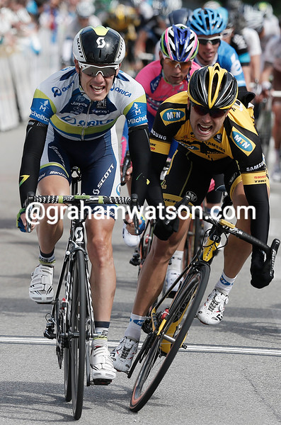 Daryl Impey (Orica GreenEdge) wins stage two of the 2013 Bayern Rundfahrt from Gerald CIOLEK