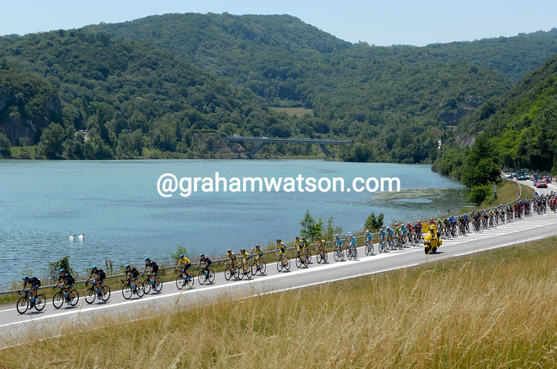 The peloton on stage six of the 2014 Dauphine-Libere