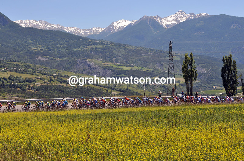 THE PELOTON ON STAGE SIX OF THE 2009 DAUPHINE-LIBERE