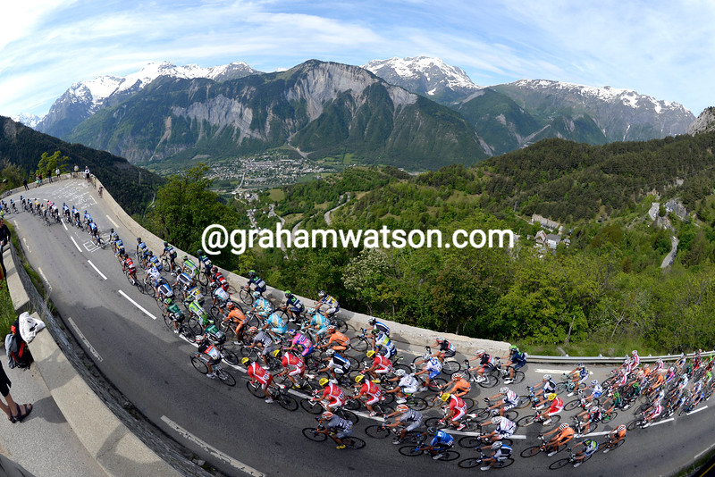The peloton climbs Alpe d'Huez on stage seven of the 2013 Dauphine-LIbere