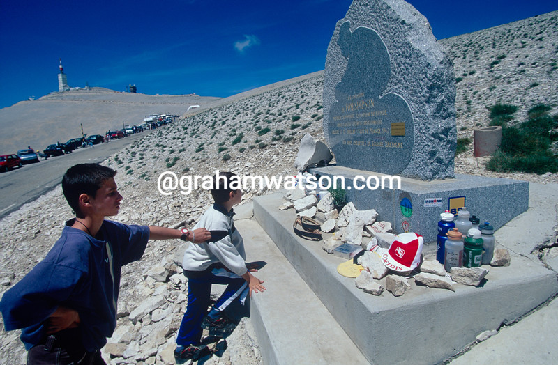The Tom Simpson memorial on Mont Ventoux, seen in the 2000 Dauphine-Libere