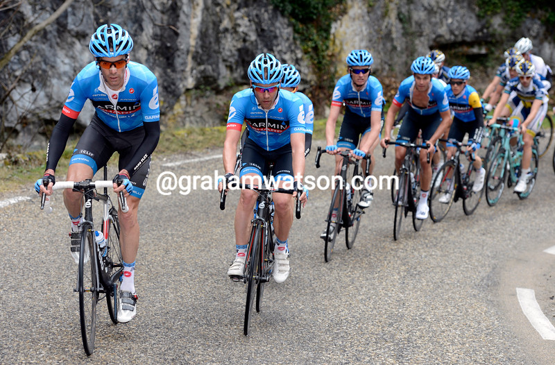 David Millar chases on stage five of Paris-Nice