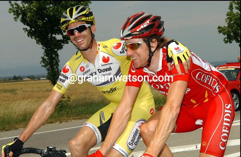 DAVID MILLAR AND BRADLEY WIGGINS ON STAGE FOUR OF THE DAUPHINE-LIBERE