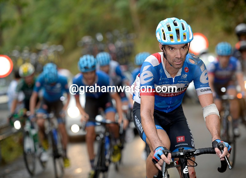 David Millar after a crash on stage fifteen of the 2014 Tour of Spain