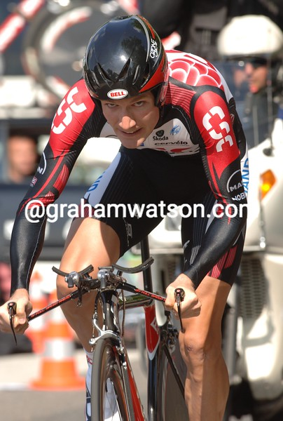DAVID ZABRISKIE IN ACTION DURING THE PROLOGUE OF THE 2006 DAUPHINE-LIBERE