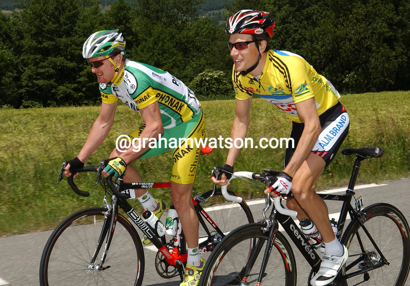 DAVID ZABRISKIE AND FLOYD LANDIS ON STAGE ONE OF THE 2005 DAUPHINE-LIBERE