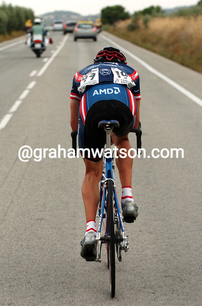 DAVID ZABRISKIE MAKES A LONG ESCAPE ON A STAGE OF THE 2004 TOUR OF SPAIN