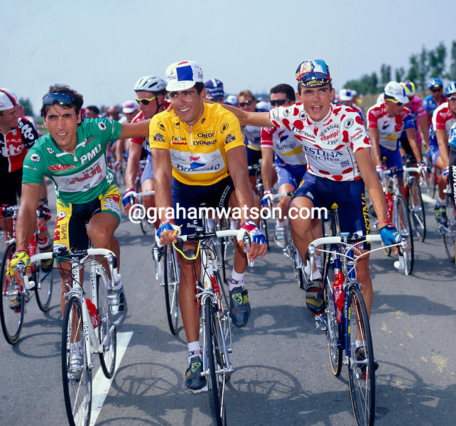 Miguel Indurain with Richard Virenque and Djadmolodine Abdujaparov in the 1994 Tour de France