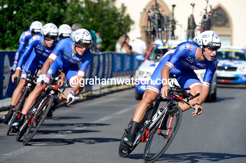 Dominique Rollin leads the FDJ team at the Mens TTT World Championship 2013