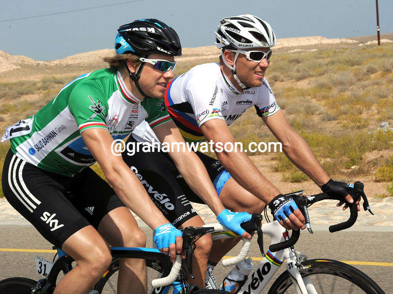 EDVALD BOASSON HAGEN AND THOR HUSHOVD ON STAGE THREE OF THE 2011 TOUR OF OMAN