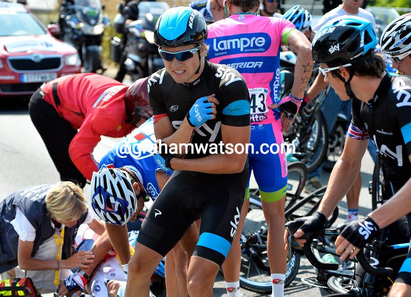 Edvald Boasson Hagen in a crash on stage twelve of the 2013 Tour de France