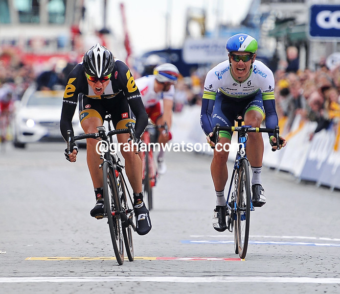 Edvald Boasson-Hagen wins Stage 5 of the 2015 Tour des Fjords from Daryl Impey