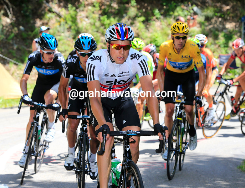 Edvald Boasson Hagen and Team Sky chase on stage twelve of the 2012 Tour de France