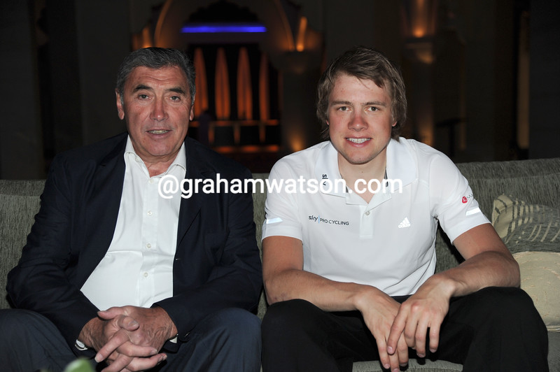 Eddy Merckx and Edvald Boasson Hagen at the 2011 Tour of Oman