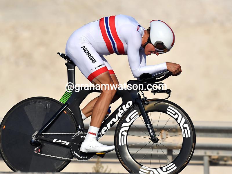 Edvald Boasson Hagen in the elite mens TT at the 2016 World Road Championships