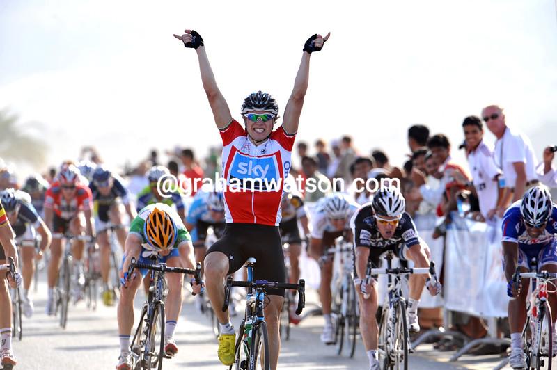 Edvald Boasson-Hagen wins stage three of the 2010 Tour of Oman