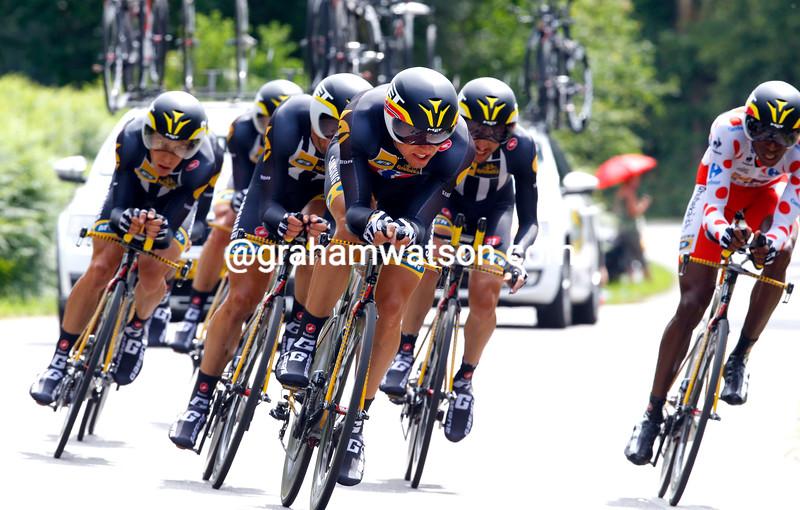 Edvald Boasson Hagen leads MTN-Qhubeka on stage nine of the 2015 Tour de France
