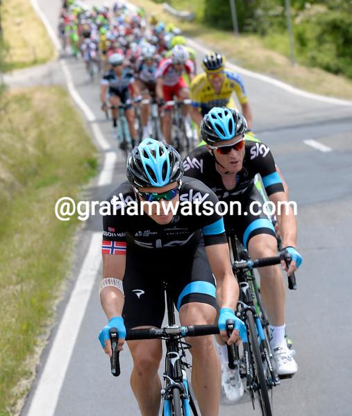 Edvald Boasson-Hagen attacks on stage eleven of the 2014 Giro d'Italia
