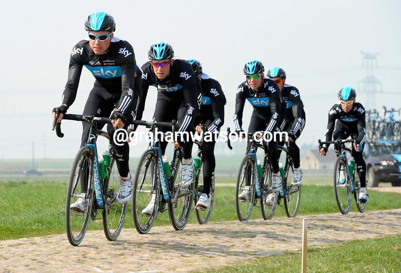 Edvald Boasson Hagen and Team Sky training for Paris-Roubaix