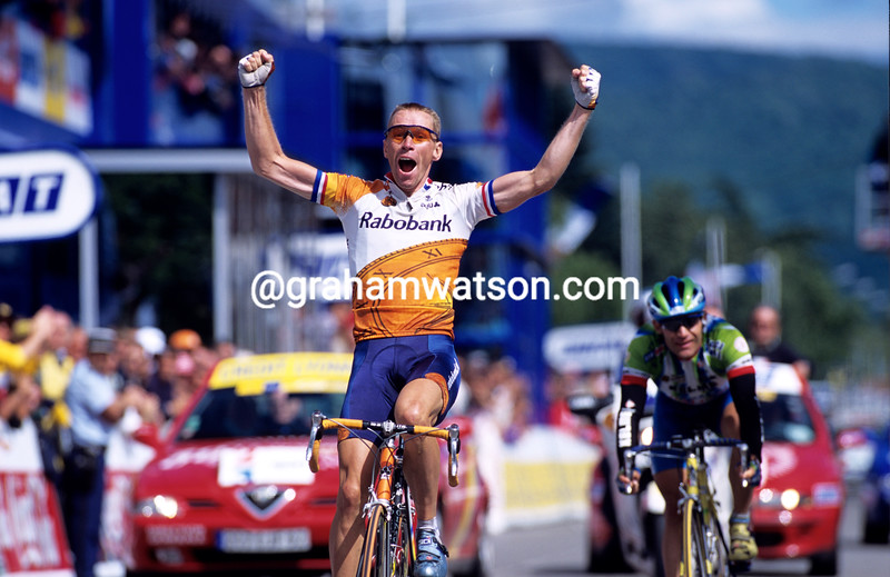 Eric Dekker wins a stage of the 2000 Tour de France