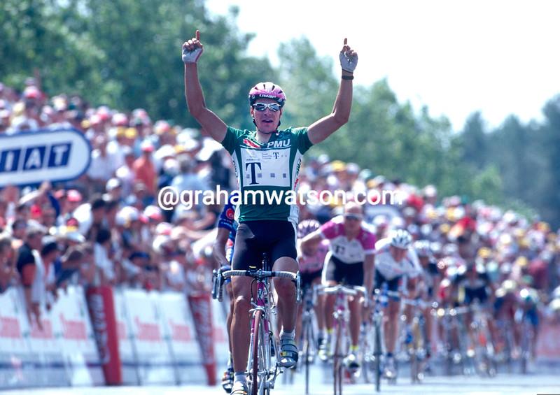 Erik Zabel wins a stage of the 1997 Tour de France