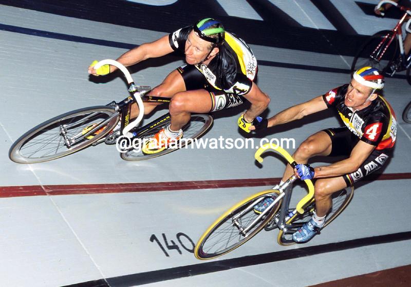 Etienne De Wilde and Matthew Gilmore in the 1999 Dortmund Six-Day race