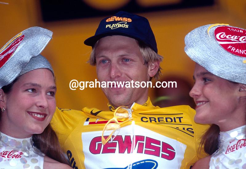 Evgeni Berzin wins a stage of the 1996 Tour de France