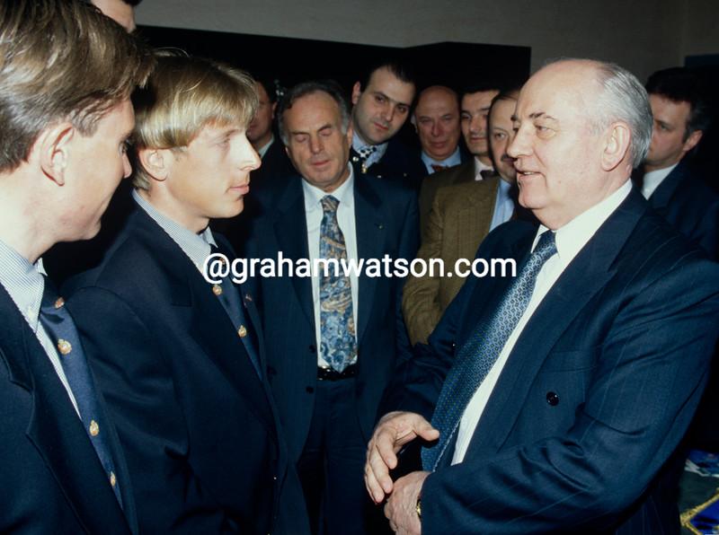 Evgeni Berzin meets President Gorbachov in 1996