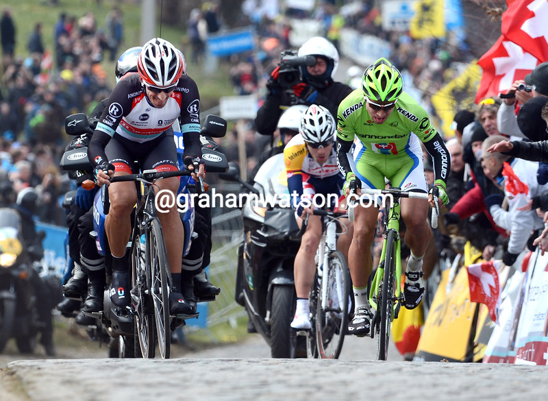 Fabian Cancellara and Peter Sagan on the Paterberg in the 2013 Tour of Flanders