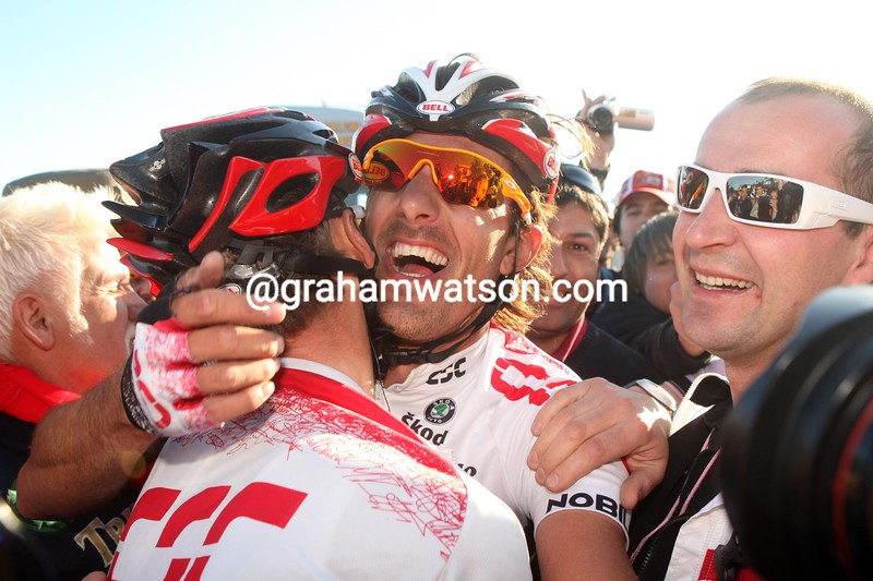FABIEN CANCELLARA AND FRANK SCHLECK AFTER THE 2008 MILAN SAN REMO