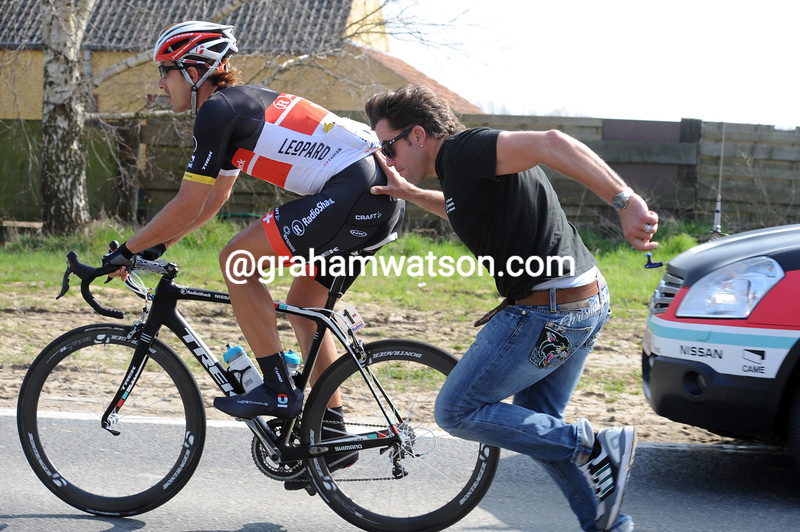 Fabian Cancellara after a crash in the 2012 E3 Harelbeke
