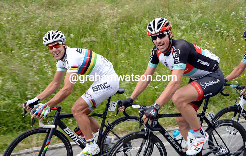 Philippe Gilbert and Fabian Cancellara on stage four of the 2013 Tour de Suisse