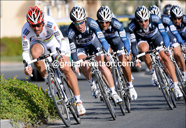TEAM SAXO BANK ON STAGE ONE OF THE 2010 TOUR OF QATAR