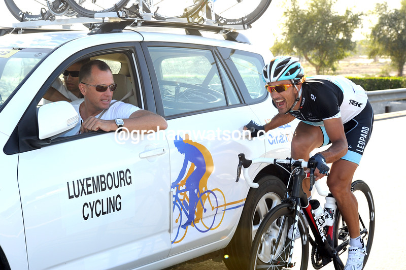 FABIAN CANCELLARA AND KIM ANDERSEN ON STAGE ONE OF THE 2011 TOUR OF OMAN