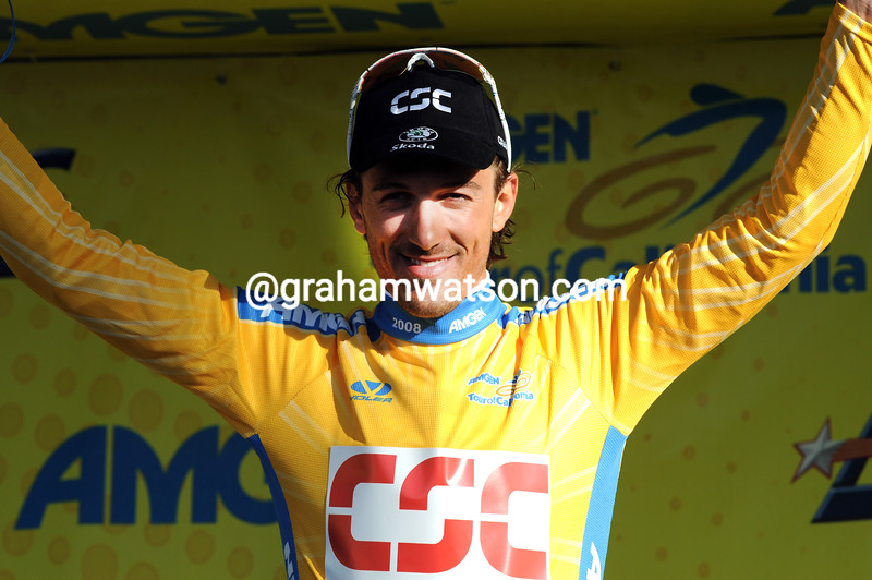 FABIEN CANCELLARA AFTER WINNING THE PROLOGUE OF 2008 TOUR OF CALIFORNIA