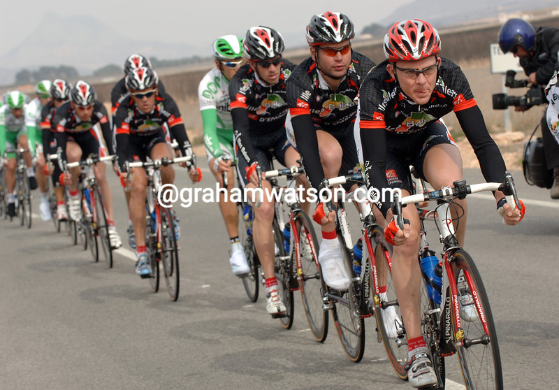 Florian Brard leads the Caisse d'Epargne team in the 2006 Tour of Murcia