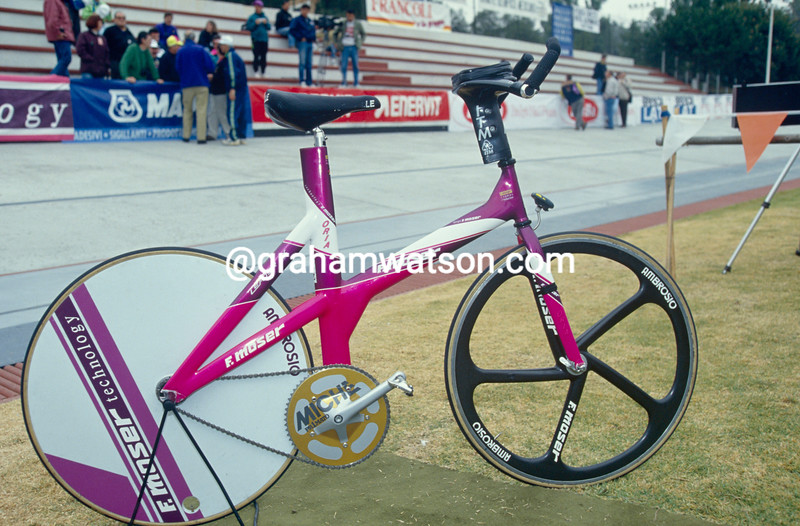 The bicycle of Francesco Moser in his anniversary Hour Record attempt in 1994