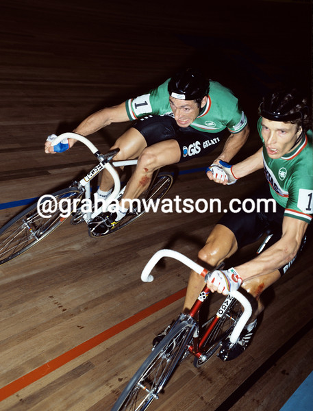 Francesco Moser and Dietrich Thurau n the Paris six-days