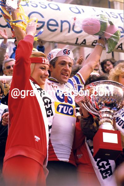 Francesco Moser after winning the 1984 Milan-San Remo