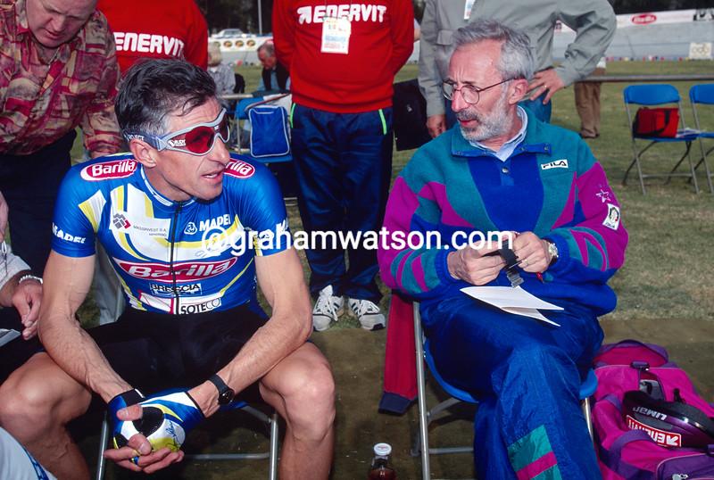 Francesco Moser in his anniversary Hour Record attempt in 1994, with professor Conconi