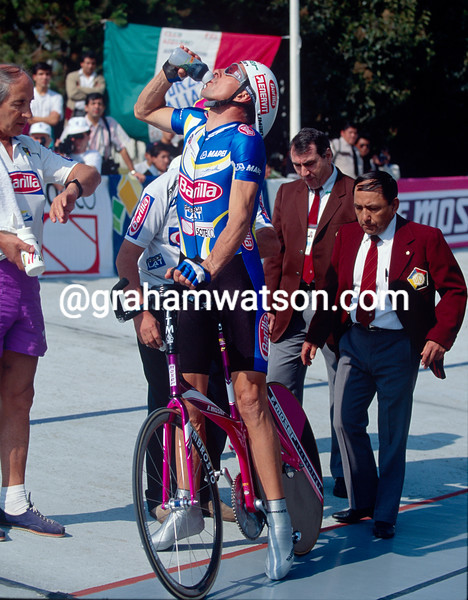 Francesco Moser in his anniversary Hour Record attempt in 1994