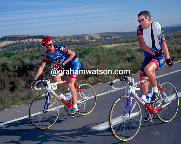 Lance Armstrong with Franky Andreu in the 1998 Ruta del Sol