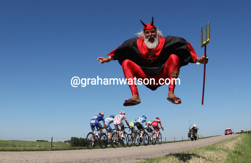 A GERMAN FAN ON STAGE TWELVE OF THE 2009 TOUR DE FRANCE