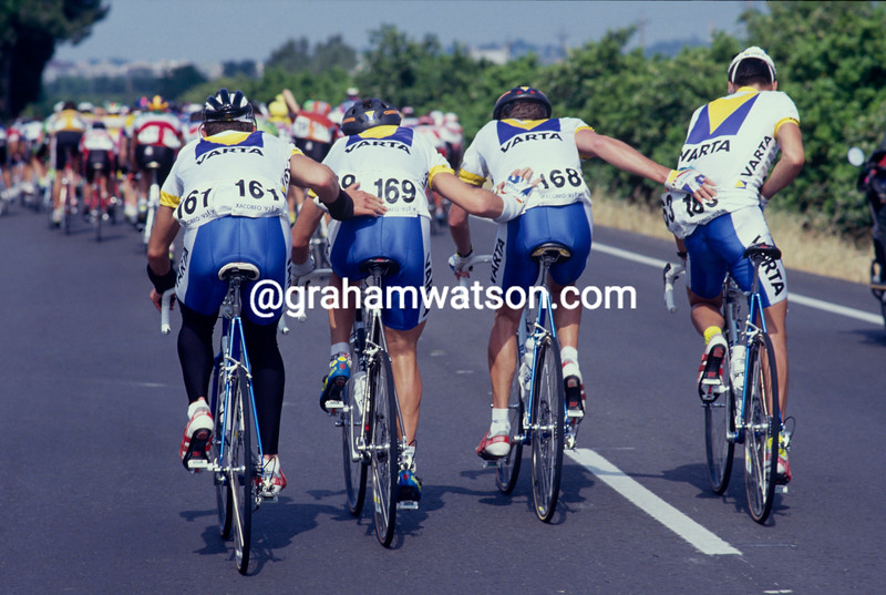 Colombian cyclists help each other during the 1992 Tour of Spain