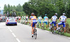 CYCLISTS STOP FOR A PEE ON STAGE FOUR OF THE 2008 DAUPHINE-LIBERE