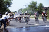 Fans spray water on cyclists in the 1997 Tour of the Philippines
