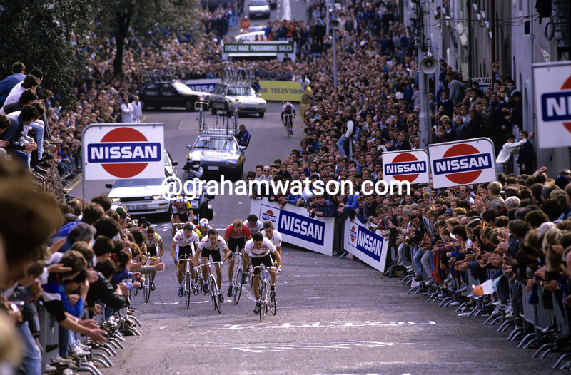The 1987 Tour iof Ireland climbs St Patrick's Hill in Cork